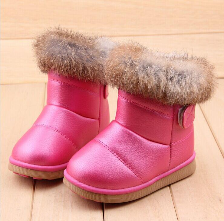 New Winter fashion snow boot Warm Rabbit hair PU Leather First Walkers shoes wings infant Toddler Baby Girls hard sole 13-18CM