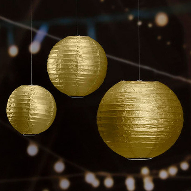 6 8 10inches 3pcs Set Gold Paper Lantern Wedding Decorative Silver Chinese Lanterns Party Anniversary Reception Decoration