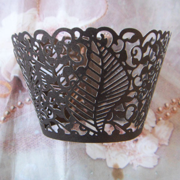 (48pcslot) White Gold yellow chocolate Brown Vine Leaf Laser Cut Wedding cupcake wrapper muffin baking cup free shipping