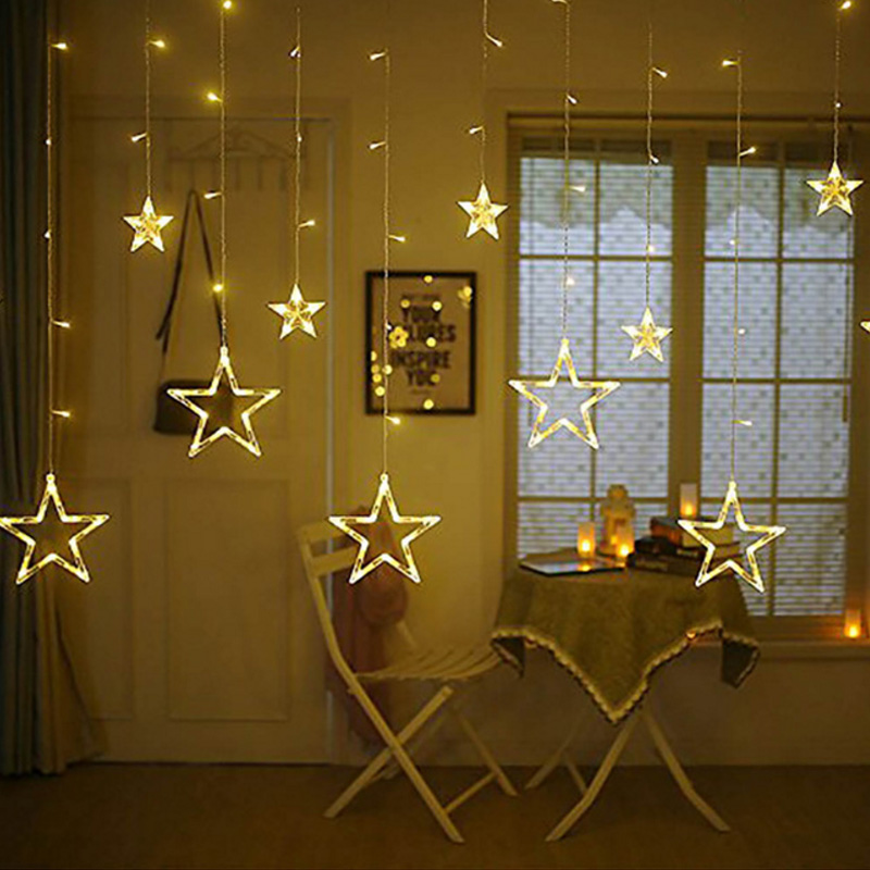 AC 220V 138LED Holiday Lighting LED Fairy Star Curtain String luminarias Garland Decoration Christmas Wedding Light 4M 15w 500lm 28 led rgb christmas small fish decorative modeling string light white 4m ac 220v