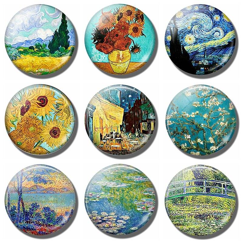 Подсолнухи Ван Гога, звездная ночь, магнитный Декор холодильника, пейзаж, стекло, кристалл, кабошон, наклейки на холодильник, подарки
