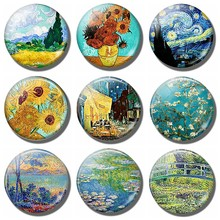 Van Gogh Starry Night Sunflowers Art Souvenir Fridge Magnet Decor landscape Glass Crystal Cabochon Refrigerator Stickers Gifts(China)