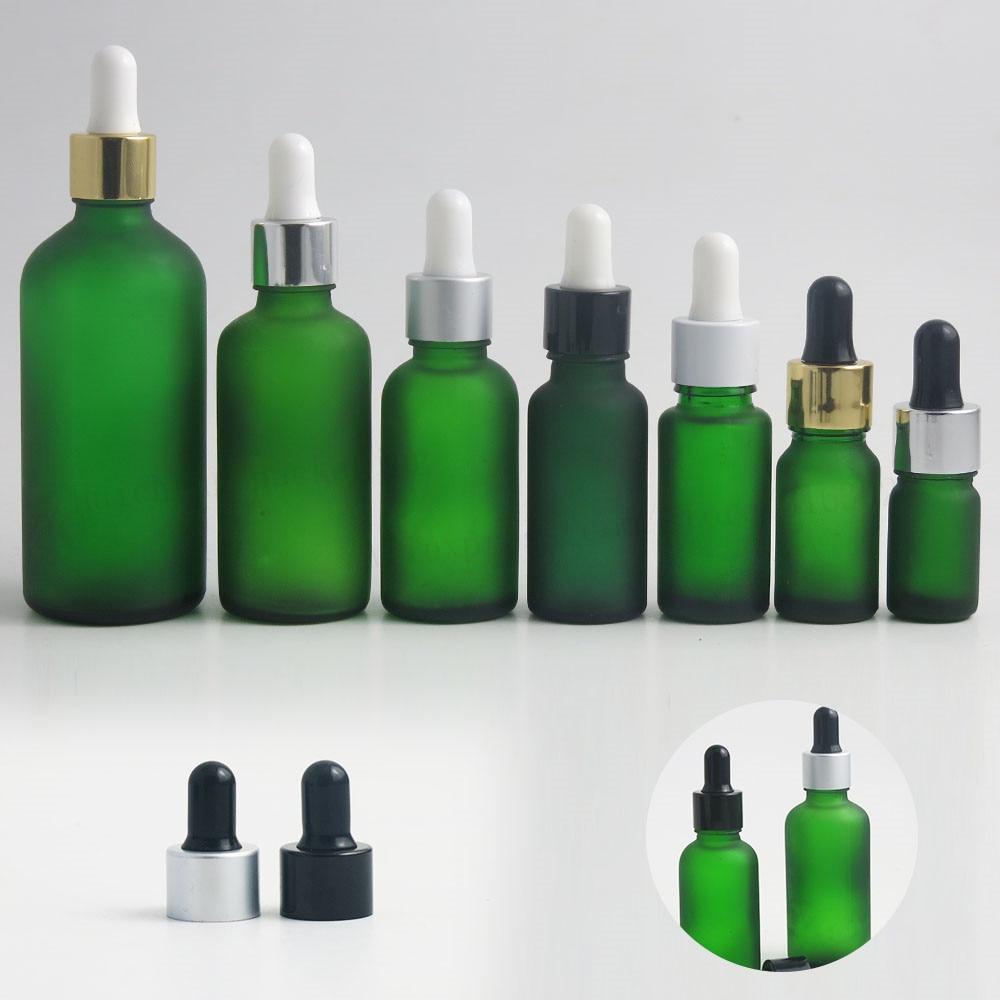 200 x 100ml 50ml 30ml 20ml 15ml 10ml 5ml Frost Green Glass Essential Oil Bottle With