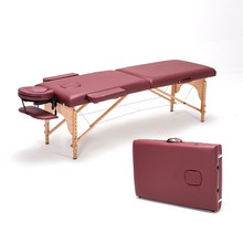Chinese massage workshop folding massage couch Portable beauty care beauty bed Beech physiotherapy bed Table Facial Tattoo Bed(China)