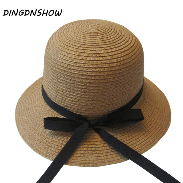 DINGDNSHOW  2018 Brand Sun Hat Adult String Bowknot Beach Cap Summer Hat  for Women Bucket Straw Hat 0cf891ccb99