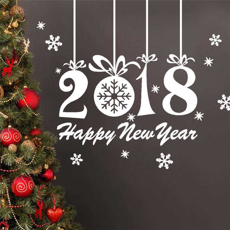 Nice 2018 Happy New Year Decorations Window Stickers Christmas Glass Decals  Snowflowers Wall Sticker While Red Home Decor Murals In Wall Stickers From  Home ...