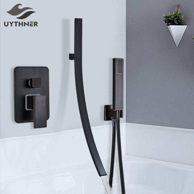 Black Bronze Bathtub Faucet Mixer Basin Tap With Sprayer Hand Shower Long Spout Tub Bathroom Faucet