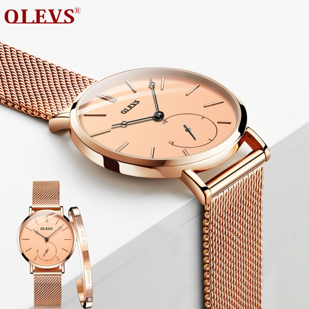 OLEVS Women Watch Luxury Brand Casual Simple Quartz Watch For Women Romantic Wristwatch SteelBracelet Reloj Mujer Drop Shipping