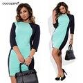 Vestidos de las mujeres 2017 patchwork elegante oficina dress pacthwork three trimestre más el tamaño de ropa de mujer vestido