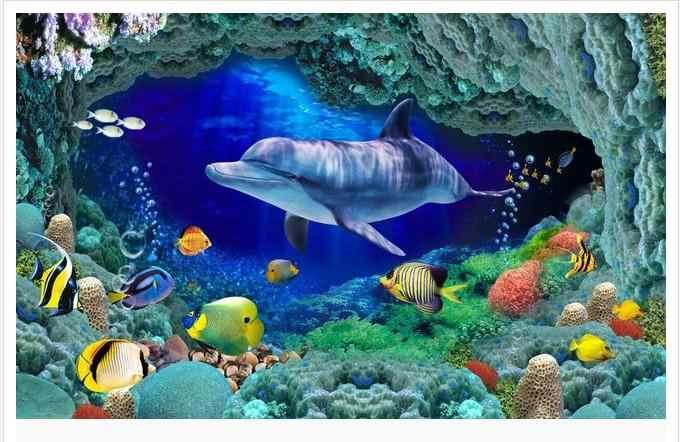 Foto personalizada À Prova D' Água piso papel de parede Amarelo peixe golfinho 3 d chão piso wallpaer 3d mural PVC papel de parede auto-adesão