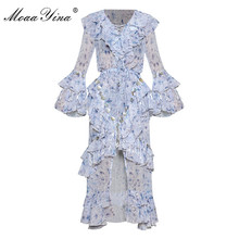 MoaaYina Butterfly Sleeve V-neck Lace-up Cascading Ruffle Print Dresses shell tassel Bohemia Vacation dress Spring Summer Women все цены
