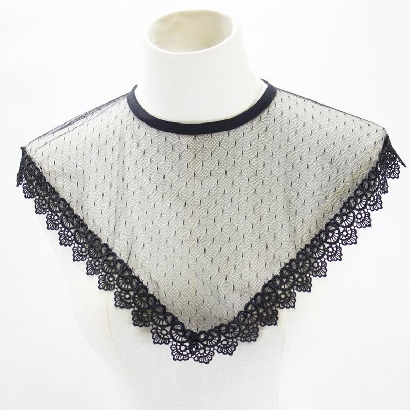 1pcs Women Hollow Mesh False Collar Detachable Standing Collar Shirt Vest Lace Fake Collar Clothing Accessories Summer BBB0623