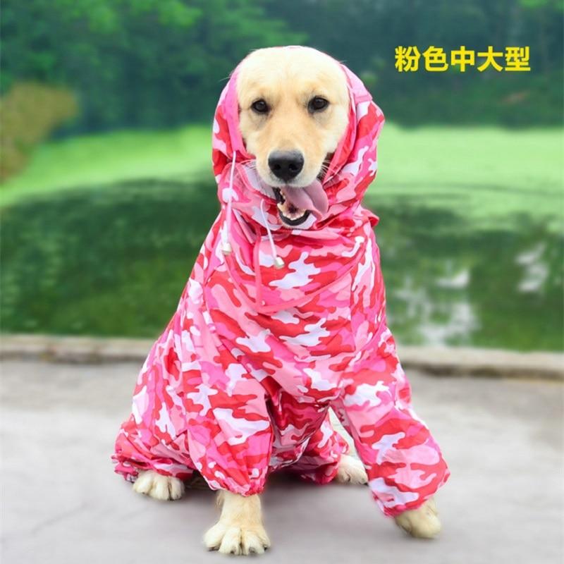 Large Dog Raincoat Clothes Waterproof Rain Jumpsuit For Big Dogs Golden Retriever Outdoor Pet Clothes WLYANG