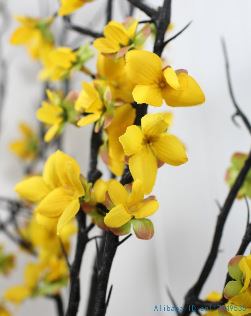 1 pcs 90 cm beautiful artificial winter jasmine plastic branch with 1 pcs 90 cm beautiful artificial winter jasmine plastic branch with yellow flowers home decoration f408 in artificial dried flowers from home garden on izmirmasajfo