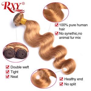 Image 3 - RXY Miele Bionda Brasiliana Fasci Del Tessuto Dei Capelli Dellonda Del Corpo di 1/3/4pcs #27 di Colore Umani di 100% pacchi dei capelli Remy Capelli intrecciati di Estensione