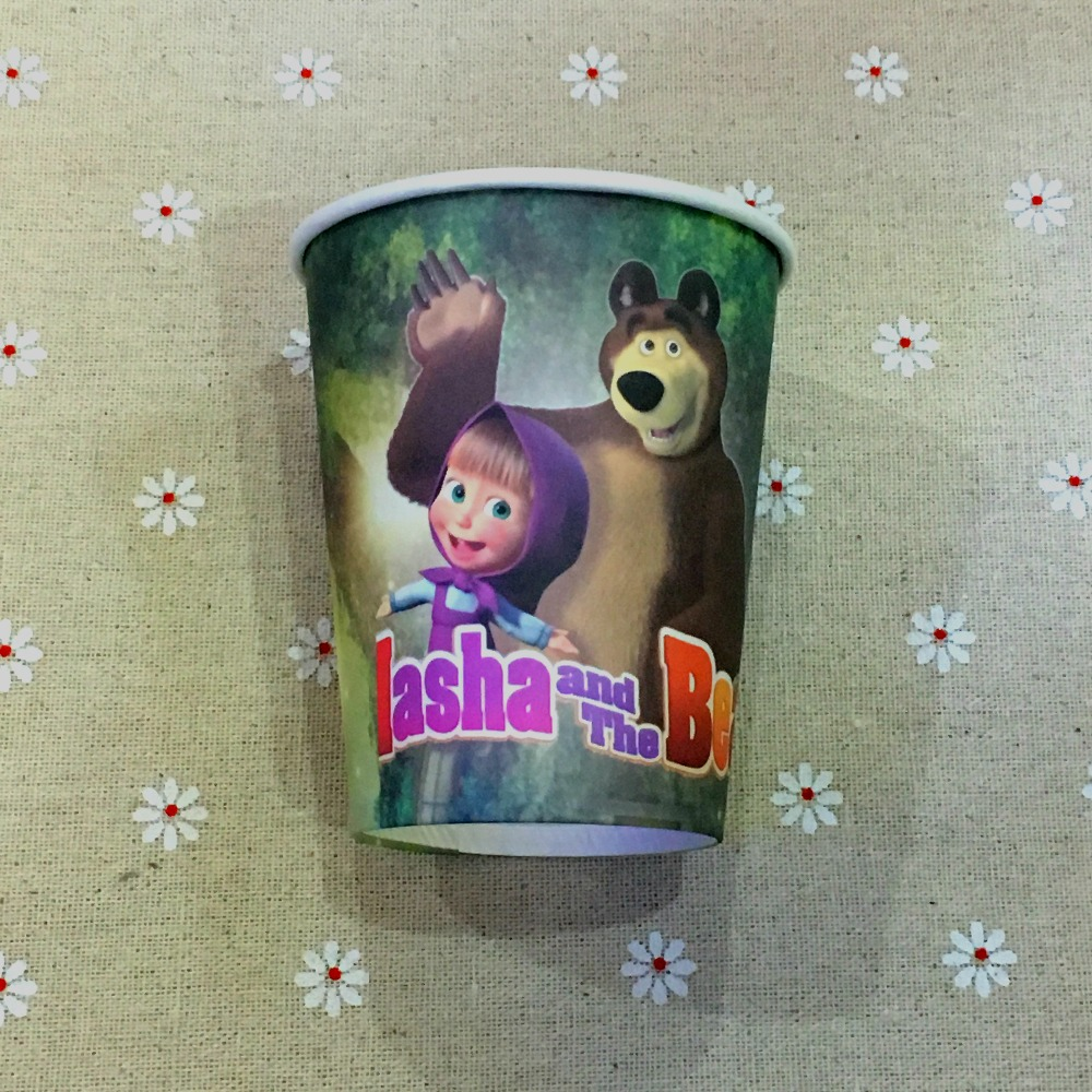 masha and the bear theme <font><b>Movie</b></font> Character printing paper <font><b>cup</b></font> tableware for birthday,<font><b>party</b></font> drinking*50pcs