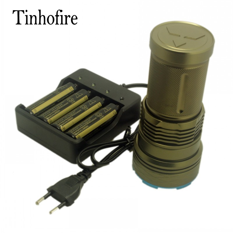 Tinhofire ArmyGreen/Black 20000 lumens 12 x CREE XM-L T6 Portable Led Flashlight Hunting Lamp Torch G12+battery+4slot charger skyray 20000 lumens 90w led flashlight 5 modes 9x cree xm l t6 led bike hunting torch with 4 x 18650 battery and charger