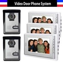 7 pulgadas Monitor Video de la puerta de intercomunicación teléfono timbre interfonos Intercom visión nocturna sistema de intercomunicación para el hogar 3 Monitor de la cámara 2
