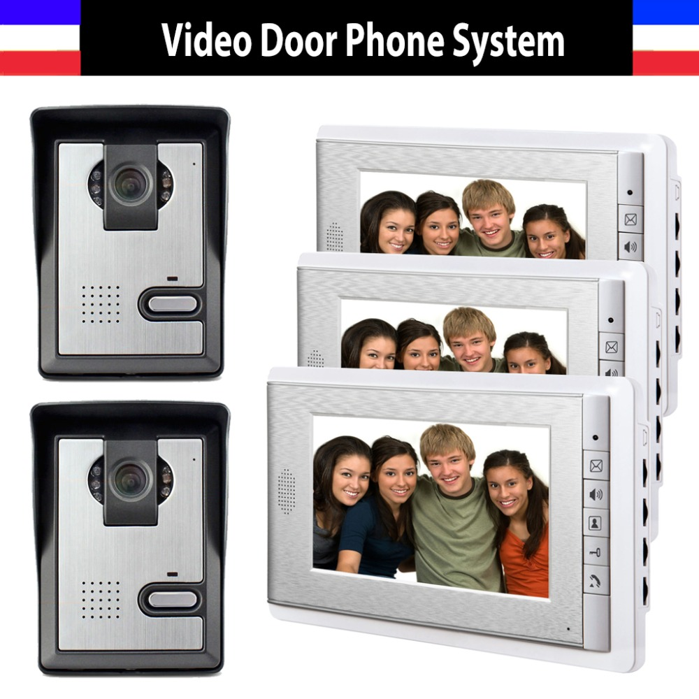 7 Inch Monitor Video Door Phone Intercom System Video Doorbell Doorphone kit IR Night Vision for Home 3 Monitor + 2 Camera