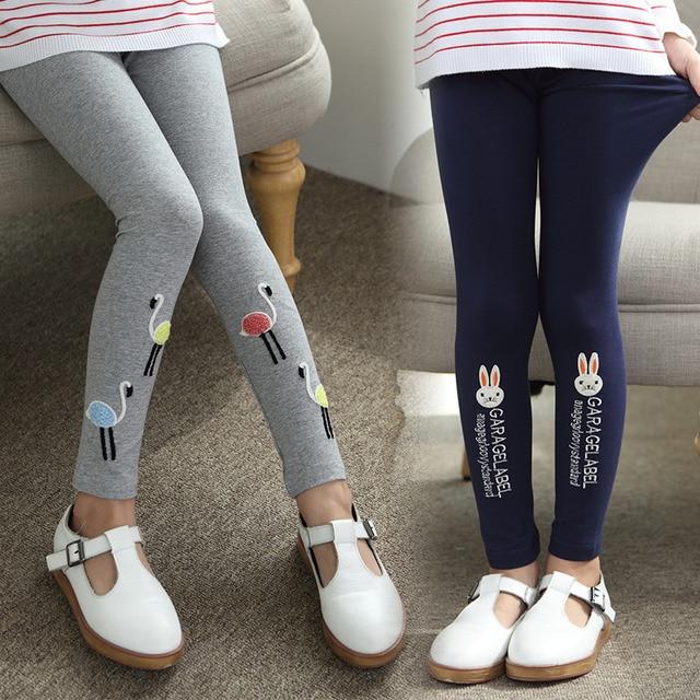029257a5c0556 autumn spring kids girls leggings baby letter cartoon swan rabbit cute girl  pants baby dark blue gray black trousers children