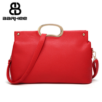 Metal Handle European Fashion Handbag Ladies High Quality PU Leather Messenger Bags Classic Elegant Leather Red