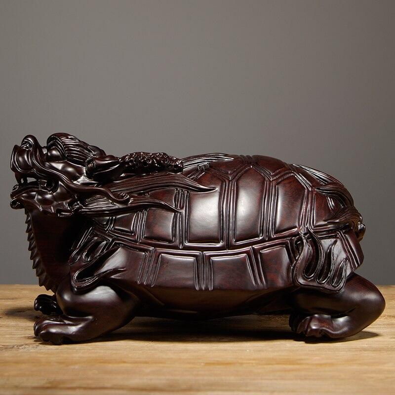 Ébène sculpté Dragon tortue ornements en bois massif bête basaltique voiture maison accessoires salon Feng Shui artisanat - 2