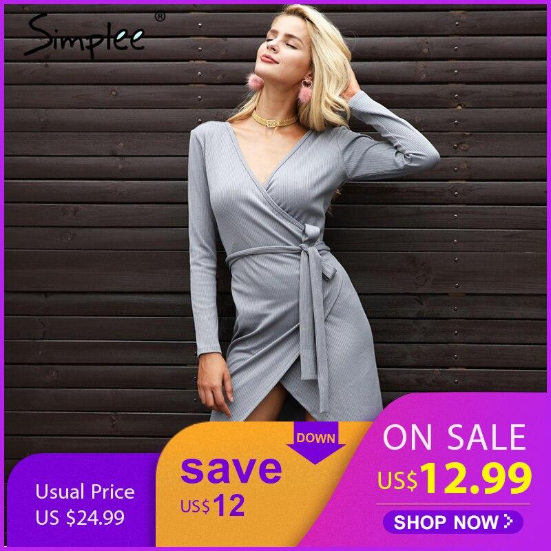 Simplee Irregularity V Neck Sashes Sweater Dress Women Casual Gray Knitted Dress Female Streetwear Beige Midi Dress Autumn 2017
