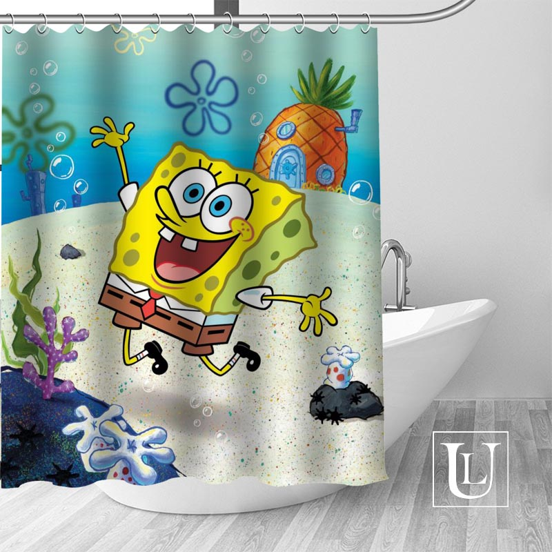 Custom Spongebob Curtain Fabric Modern Shower Curtain