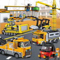 Kids Enlightenment Building Blocks Sanitation Truck Tanker Space Rocket Bulldozers Dumper Truck Block Bricks Children Toys