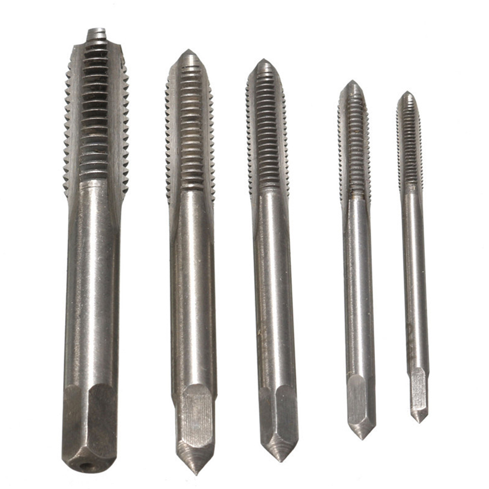 HSS Titanium Machine Hand Tap Tapping Screw Thread Metric Plug Taps 3mm 4mm 5mm 6mm 8mm M3-M8 set Hand Grinding Carving Tool 5pc