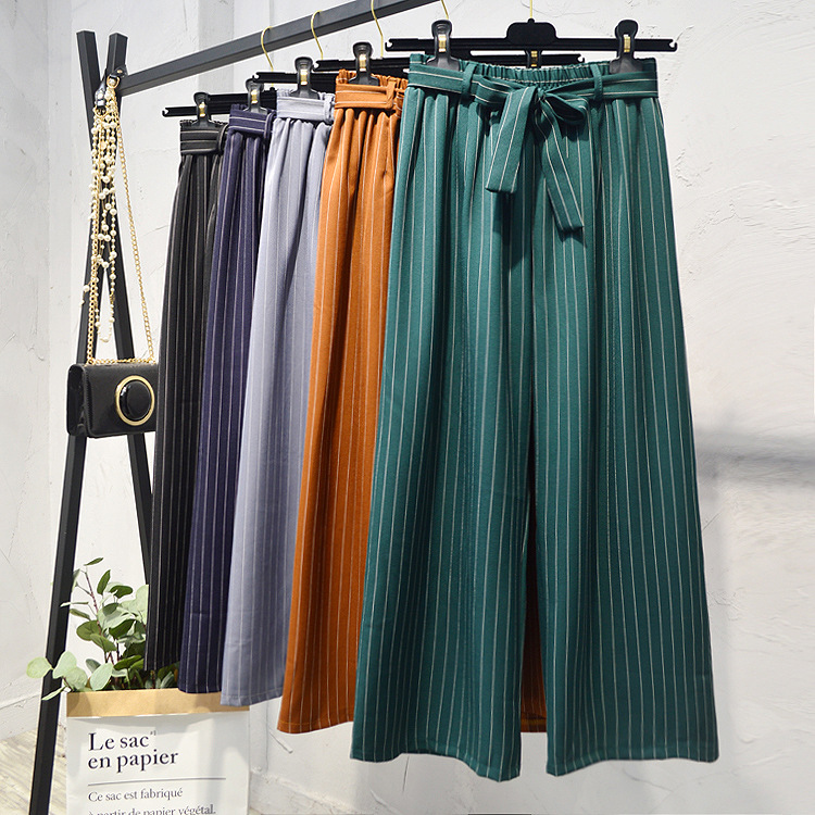 Autumn High-waist Loose Striped Pants Women 2019 Korean Summer Wide Leg Pants Women High Waisted Lace Up Pants Women Bottoms