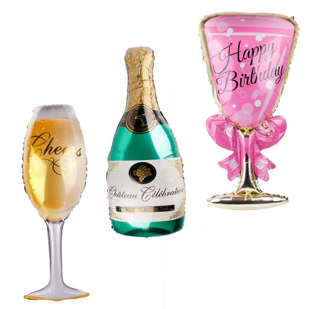 FENGRISE 1pc Aluminium Champagne Balloon Pink Wineglass Happy Birthday Party Balloons Wedding Balloon Carnival Party Decorations