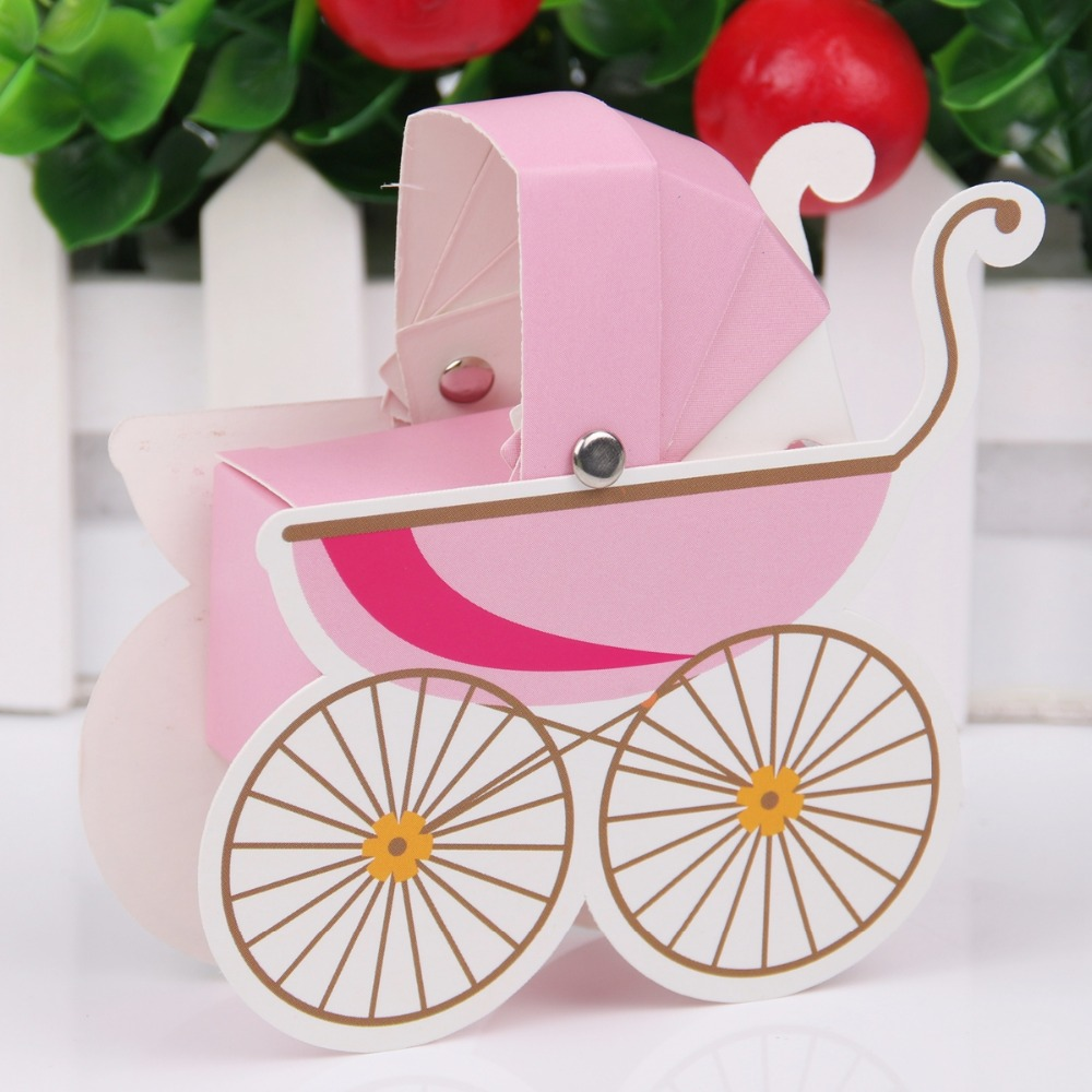 FENGRISE 10pcs Baby Shower Paper Candy Box Stroller Shape Birthday ...