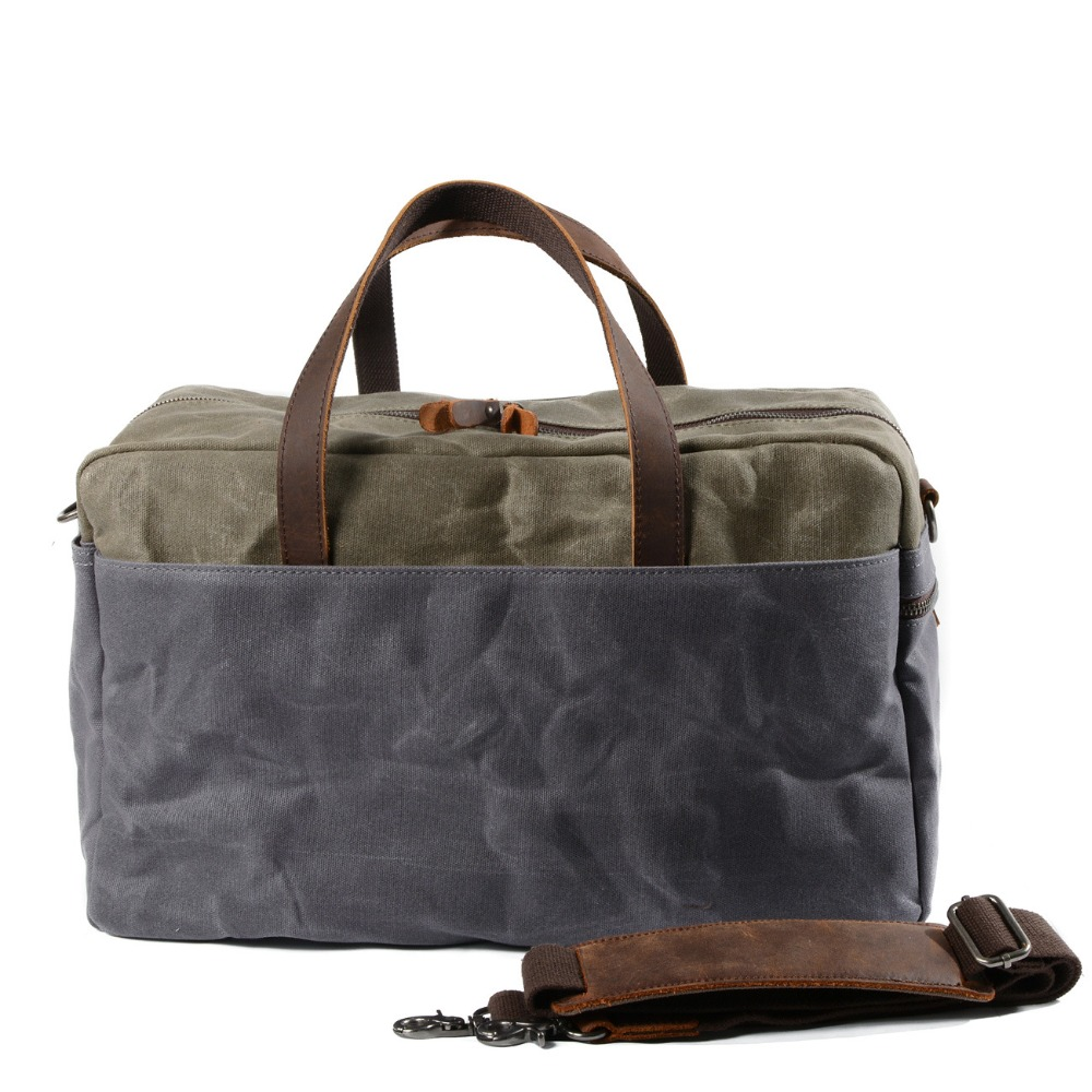 M225 Vintage Military Canvas Leather Big Duffle Bag Men Travel Bags Carry on Travel Luggage bags