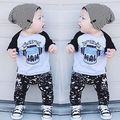 NEW Autumn 2pcs Kids Baby Boys letter print Gentleman set Shirt Tops+Long Pants Clothes Outfits Set