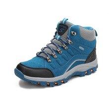 Homens mulheres caminhadas botas de trekking alta superior botas táticas caça escalada sapatos à prova dwaterproof água esportes ao ar livre sapatos masculinos nubuck pelúcia
