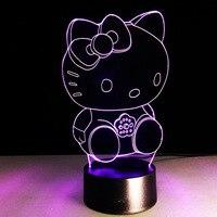 만화 hello kitty 3d led 야간 조명 7 색상