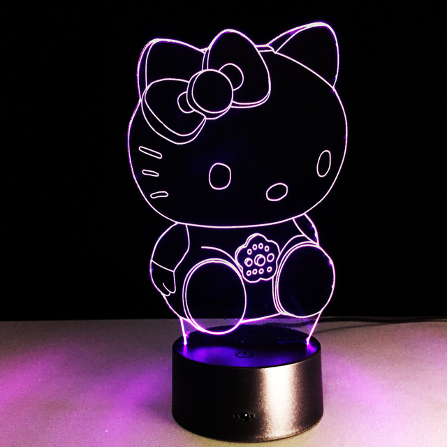 Cartoon Hello Kitty D LED Night Light Color Changing Table Lamp - Hello kitty lamps for bedroom