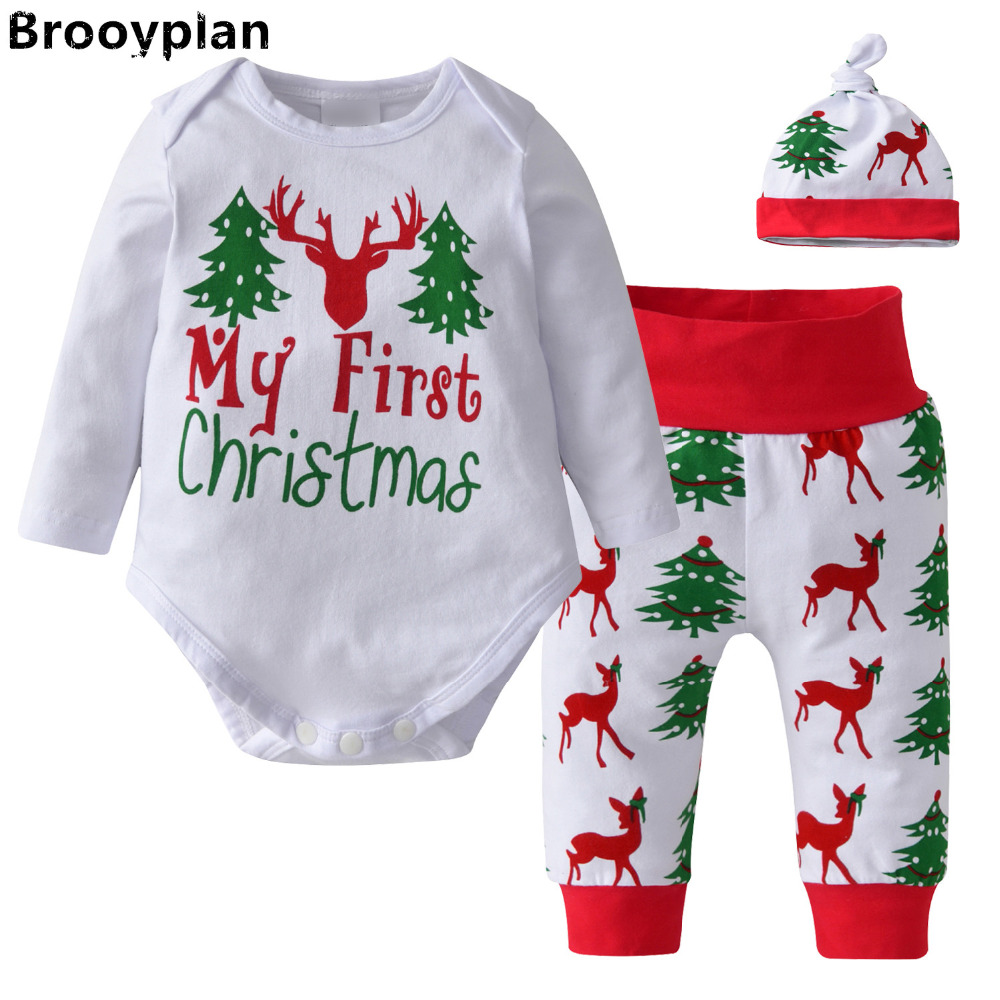 My First Christmas Baby Girls Boys Clothes 3pcs/Set ...