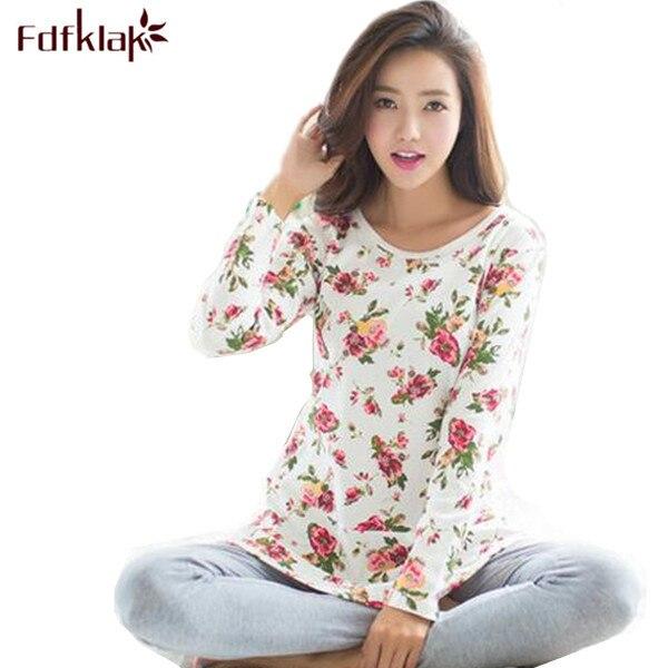 2018 New Print Pajamas Pyjama Femme Spring Autumn Winter Pijamas Women  Pyjama Set Cotton Pajamas Home Clothes For Women E0018 07773366b