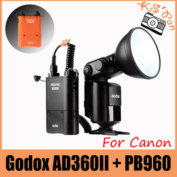 Godox Witstro AD360II-C TTL 360W GN80 Powerful Speedlite Flash Light + PB960 Orange / Black Lithium Battery for Canon EOS Camera