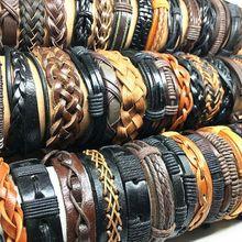 Мужские и женские кожаные браслеты, оптом 50 шт., мужские и женские браслеты в стиле ретро, оригинальные Подвески разных стилей
