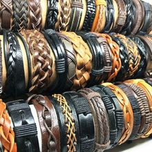 Wholesale 50pcs Leather bracelets and bangles for men women unisex assorted retro top Genuine charms tribal mix styles jewelry