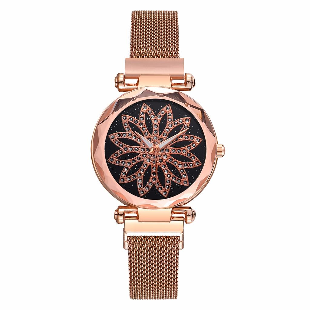 Hot Sale Women Magnet Buckle Starry Sky Flower Watch Luxury Stainless Steel Quartz Watch Clock Dropshipping