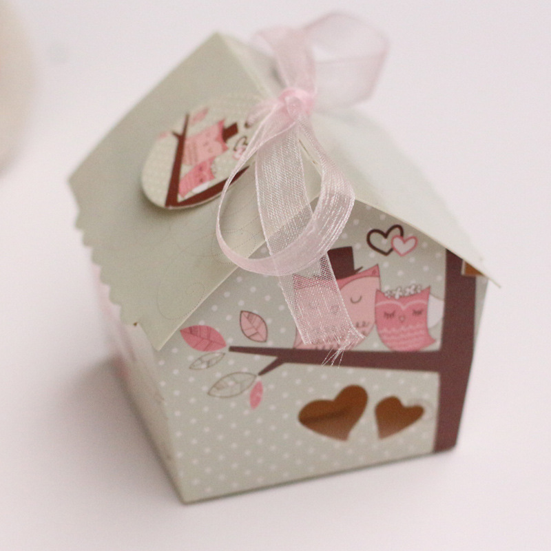 12pc Creative Promotion Mini House Style Owl On the Branch Wedding Favors Candy Boxes Bomboniera Chocolate Party Gifts Box
