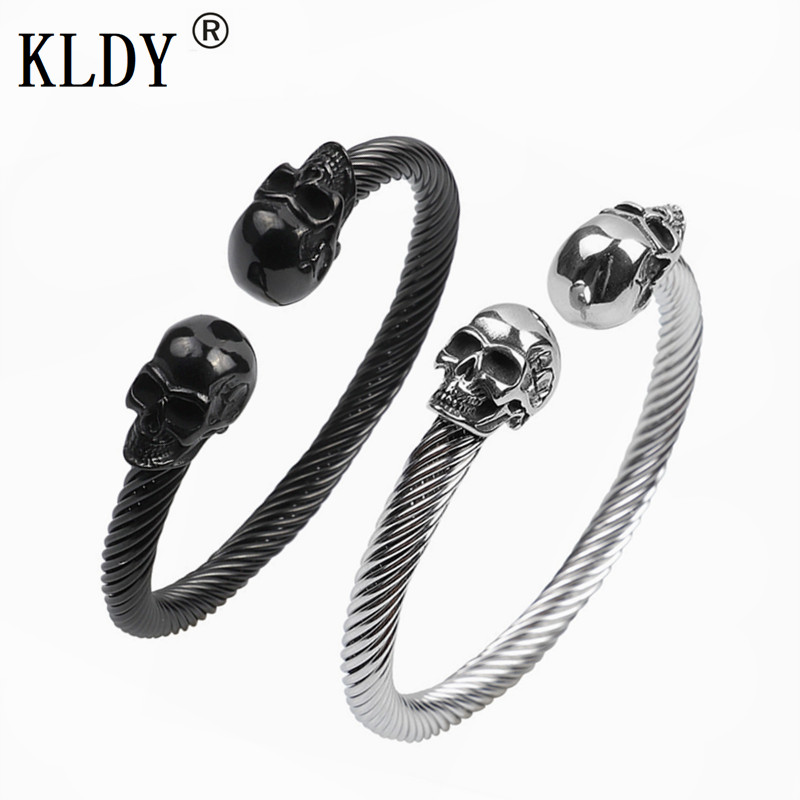 KLDY viking bracelet Stainless Steel Skull Bangle Bracelet for men women Punk Party Bangles Vikings men's Jewelry Christmas gift все цены