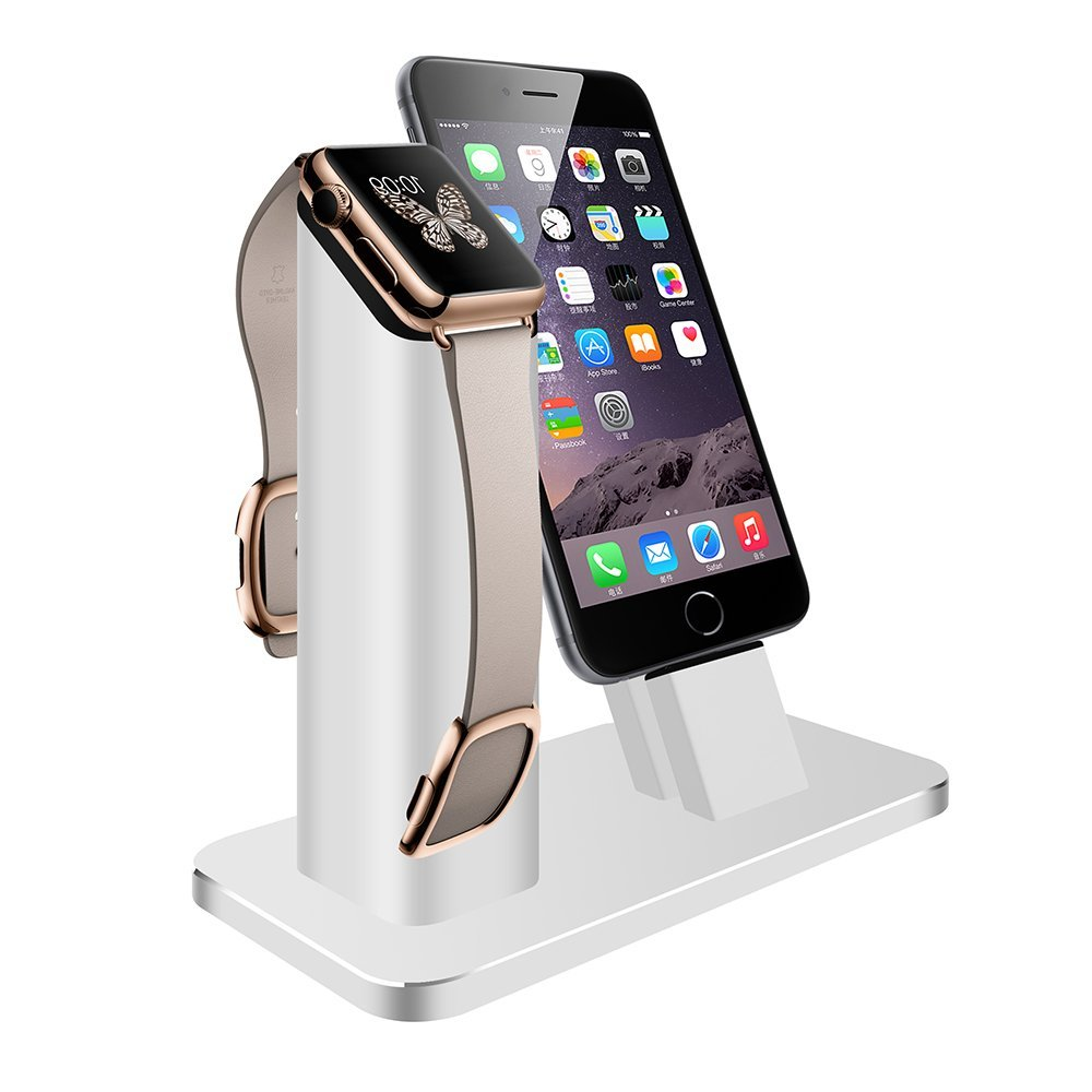 ФОТО V-MORO 2 in 1 Premium Aluminum Zinc Alloy Charging Dock Station Stand Holder for Apple iWatch & iPhone