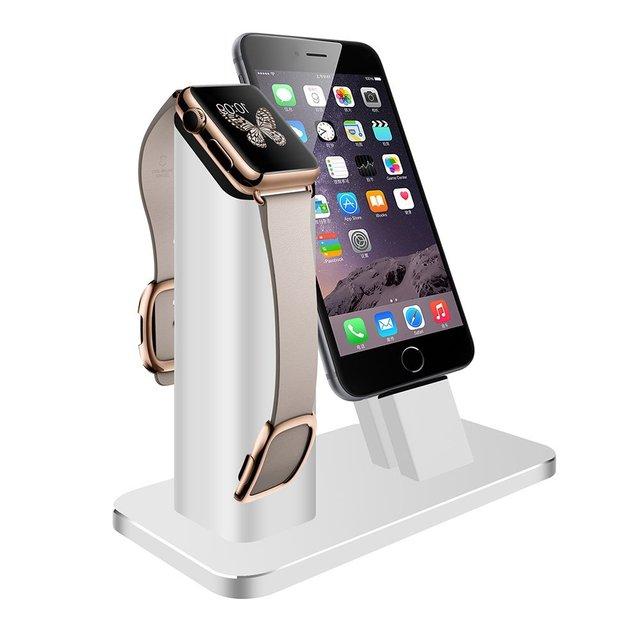 V-moro 2 en 1 estación de carga del muelle del sostenedor del soporte de aleación de zinc de aluminio de alta calidad para apple iwatch & iphone