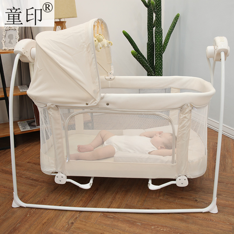 Berceau bébé multifonctionnel électrique Bb petit avec moustiquaires lit de jeu