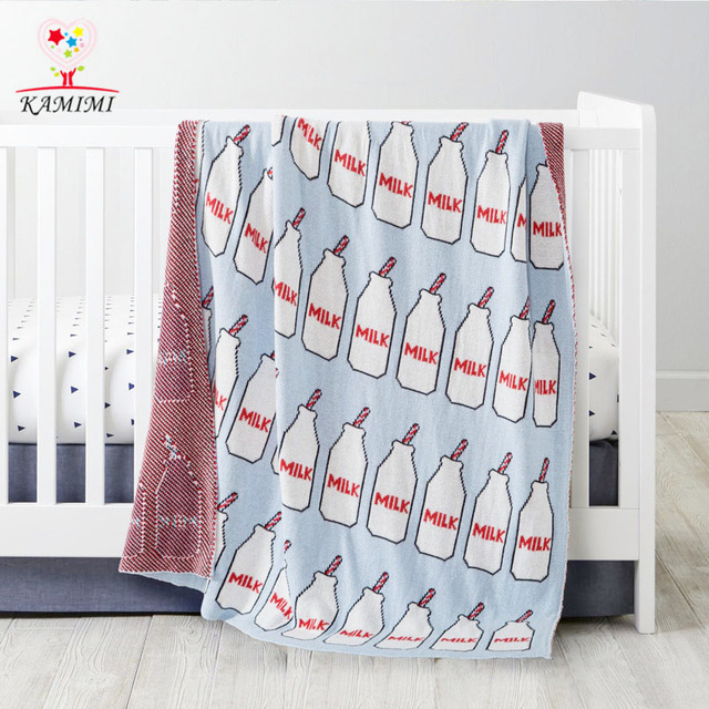 KAMIMI Milk bottle printed Blanket Knitted 100% Cotton Blankets Cartoon Baby Blanket Knitted Throw Blanket on Bed Sofa 110x90cm